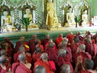 Asisbiz Hmawbi Monastery Sayadow performing his monks duty Dec 2000 05