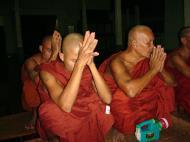 Asisbiz Hmawbi monastery monks evening prayers 01