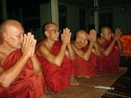 Asisbiz Hmawbi monastery monks evening prayers 02