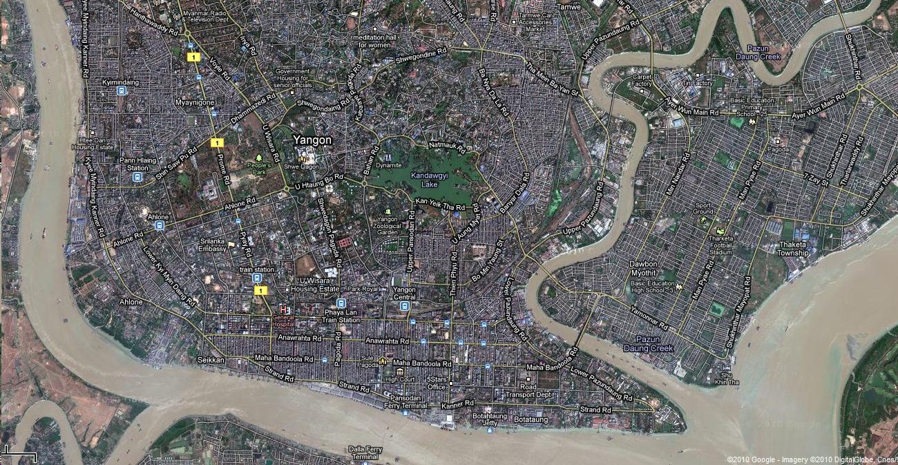 1 Satelitte map Yangon Kandawgyi Palace Hotel and royal barge Myanmar 01