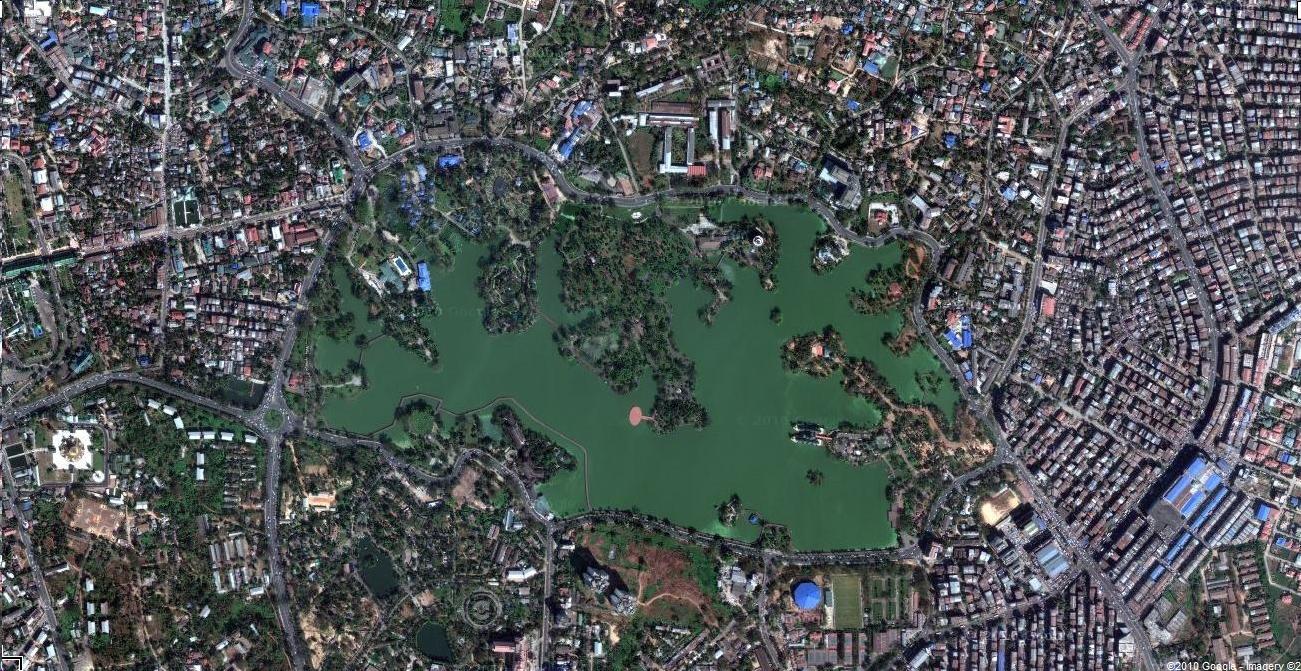 1 Satelitte map Yangon Kandawgyi Palace Hotel and royal barge Myanmar 03