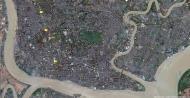 Asisbiz 1 Satelitte map Yangon Kandawgyi Palace Hotel and royal barge Myanmar 01