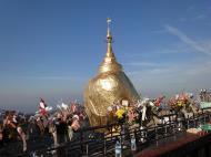 Asisbiz Kyaiktiyo Pagoda paying homage to the Buddha with flower offerings 02