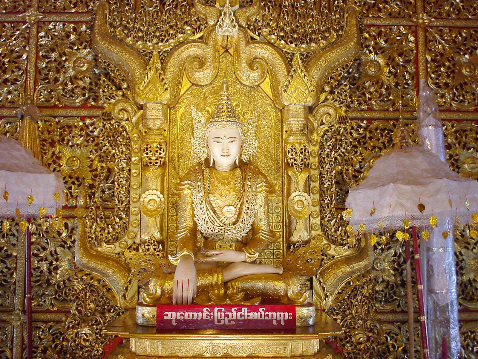 Thanlyin Kyauktan Ye Le Pagoda main Buddha Dec 2000 03