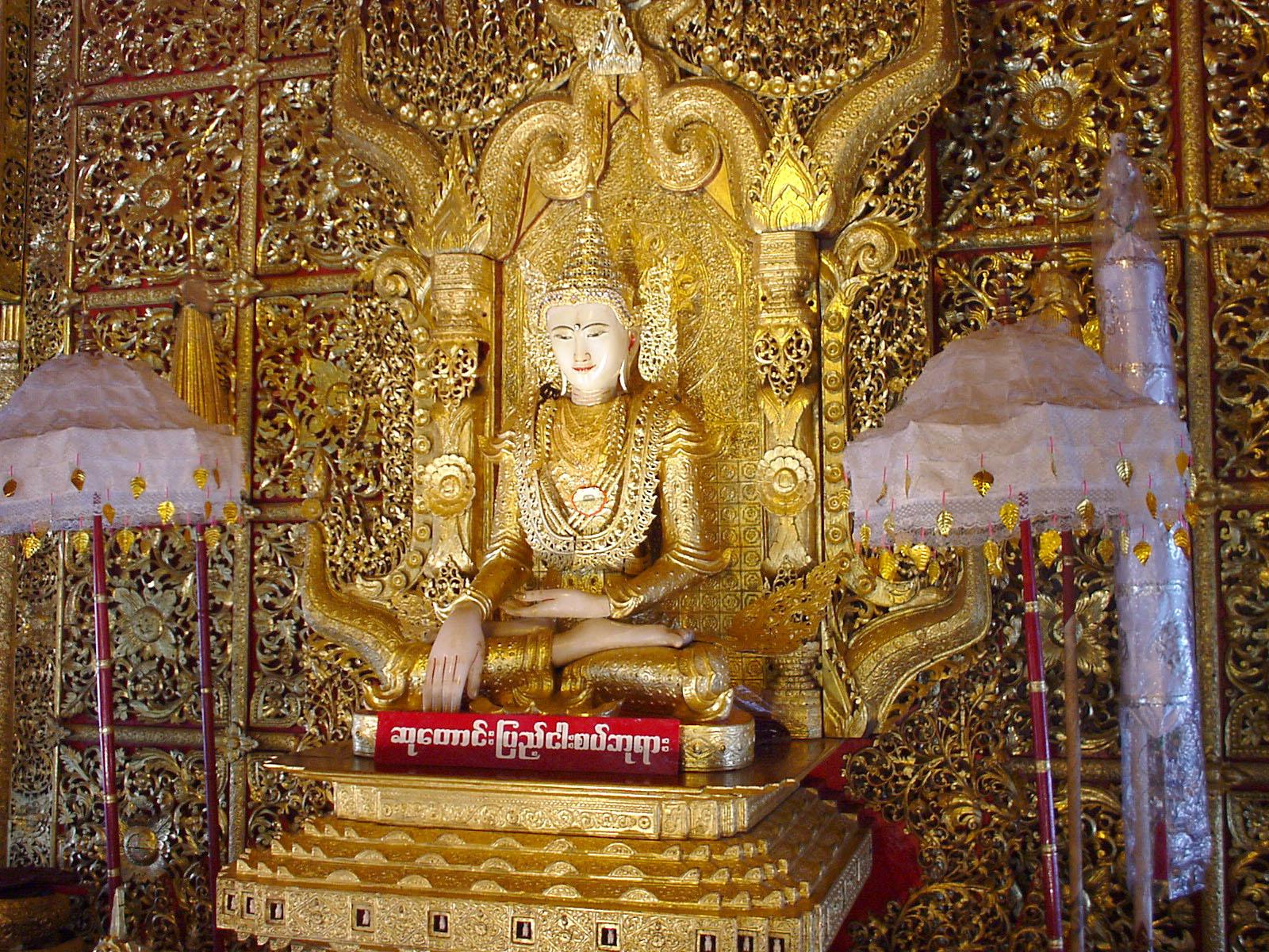 Thanlyin Kyauktan Ye Le Pagoda main Buddha Dec 2000 04