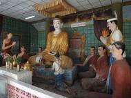 Asisbiz Meilamu Pagoda Buddhaa and monks statues Yangon Myanmar 01