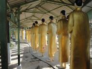 Asisbiz Meilamu Pagoda procession of monks statues Yangon Myanmar 01