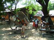 Asisbiz Myanmar Sagaing horse cart undergoing repairs Nov 2004 01