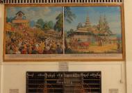 Asisbiz Area A Thanlyin Giant seated Buddha pavilion historical paintings 2009 10