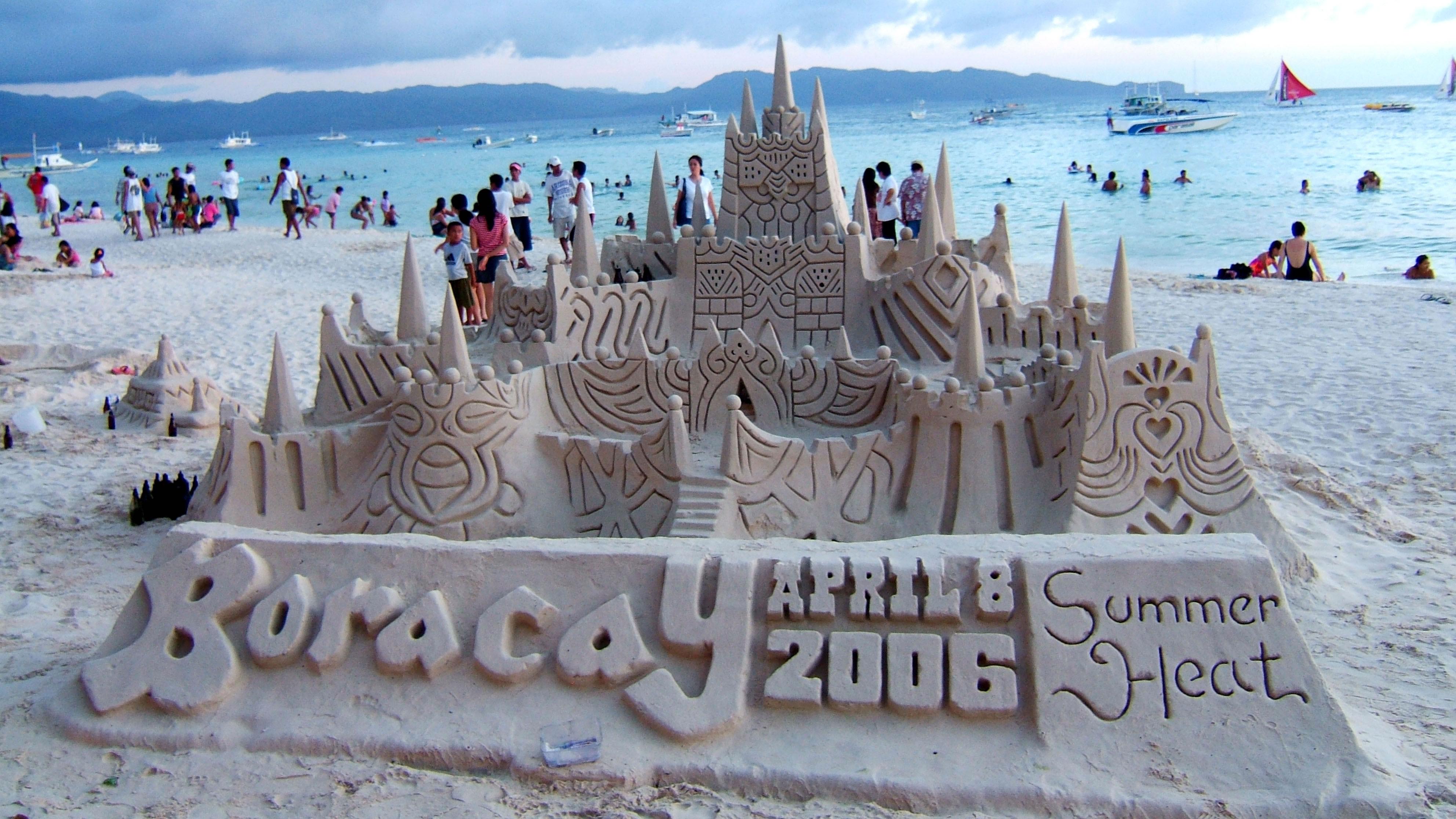 Philippines Sugar Islands Caticlan Boracay White Beach Sand Castles 2006 02