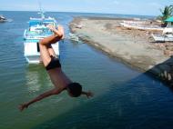 Asisbiz Kids diving of Naujan Estrella bridge Oriental Mindoro Philippines Feb 2006 13