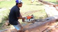 Asisbiz Step by step guide on how to cut straight using chainsaw removing the bark Philippines 02