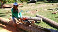Asisbiz The master shows step by step how to cut straight using chainsaw to produce coco lumber Philippines 05