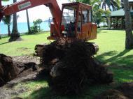 Asisbiz Using a Hitachi Backhoe to remove coco tree stumps Tabinay Philippines 03