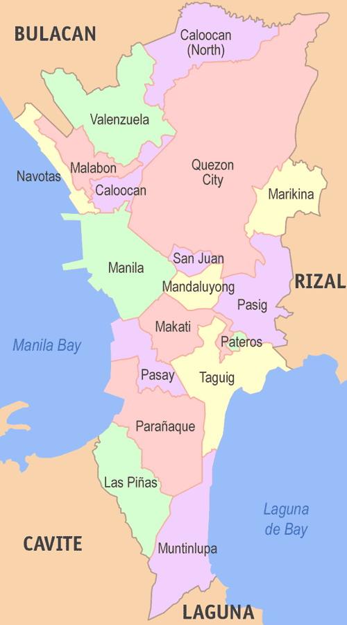 0 Map Metro Manila districts