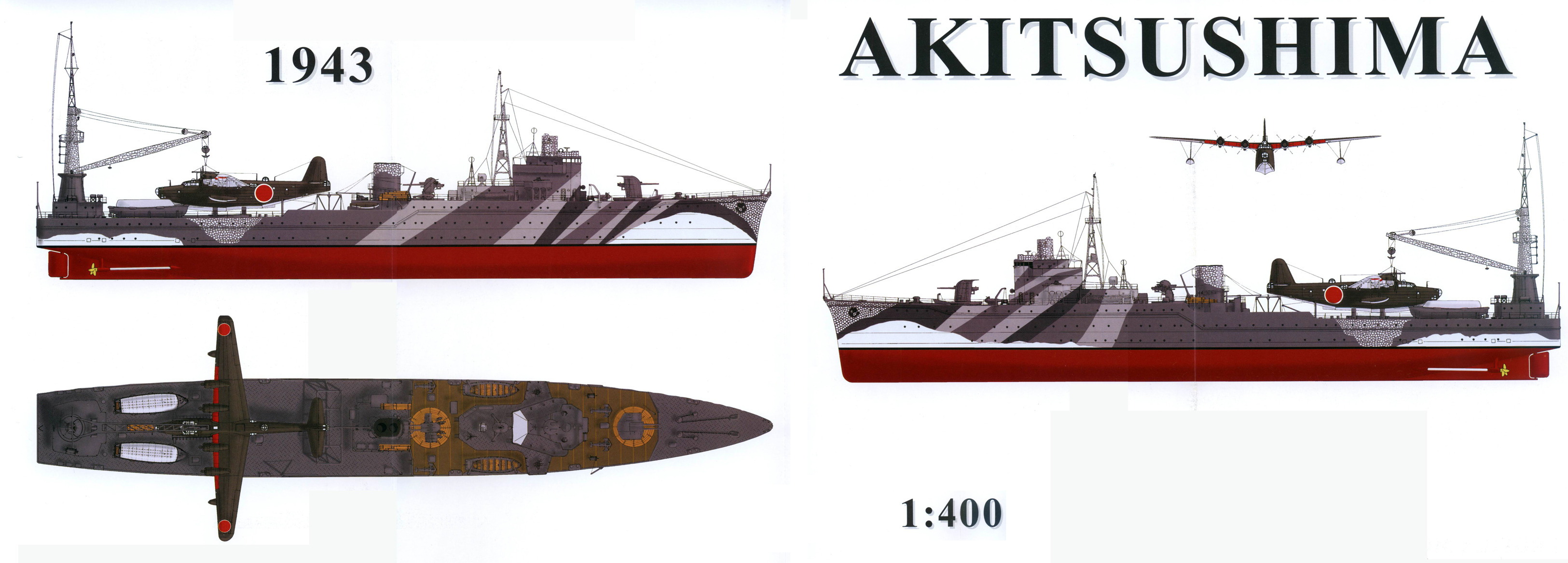 0 IJN Japanese seaplane carrier Akitushima scale drawing 0A