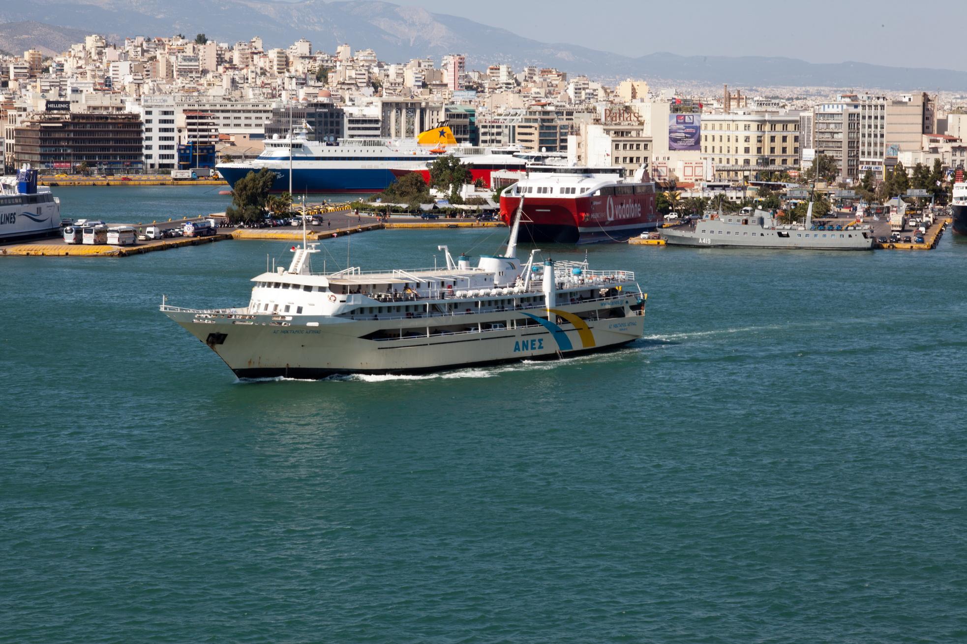 MS AG Nektarios IMO 8969343 Anes Ferries leaving Piraeus Port of Athens Greece 02