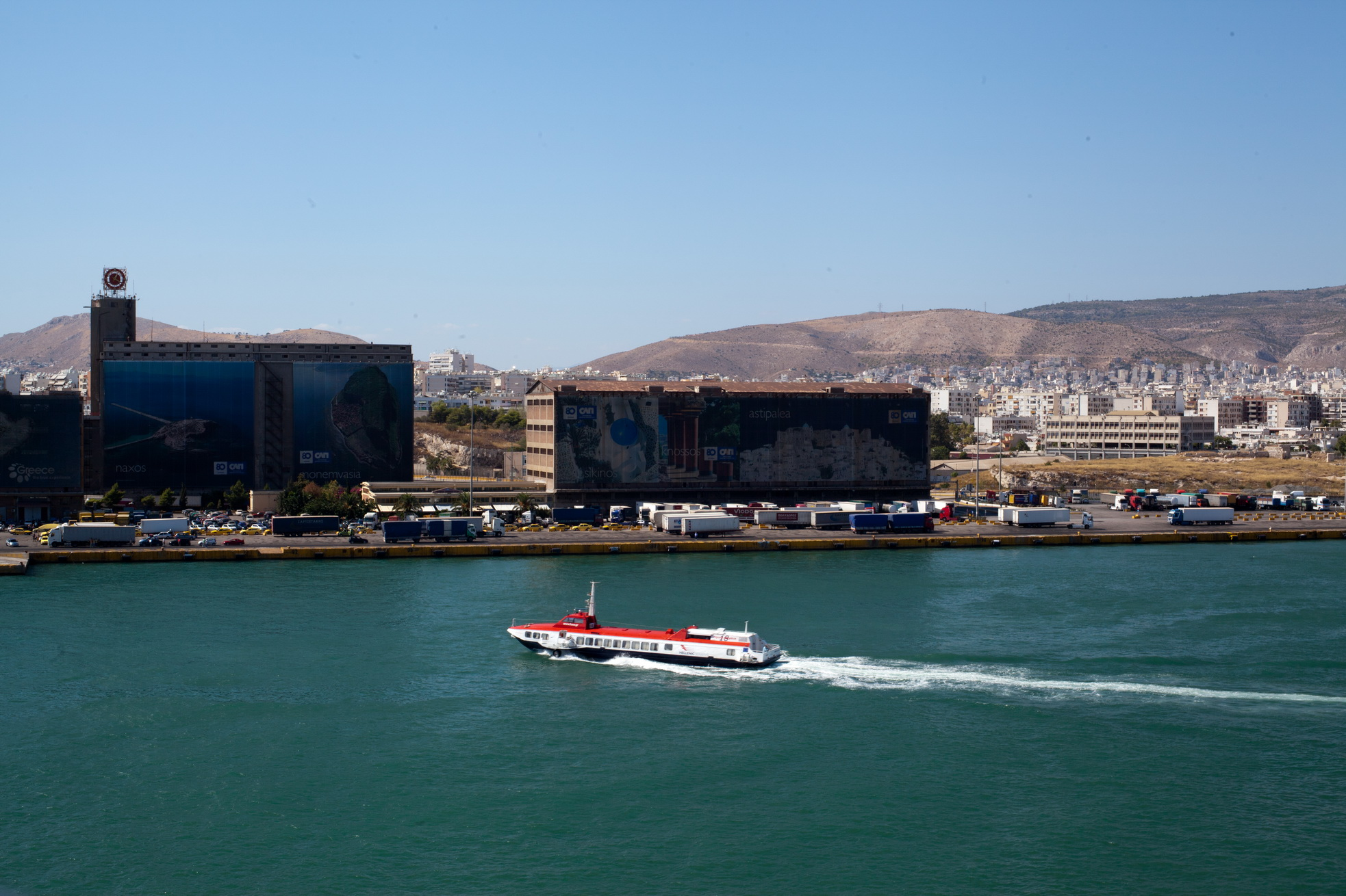 MS Flying Dolphin 18 IMO 8331479 Hellenic Seaways leaving Piraeus Port of Athens Greece 01