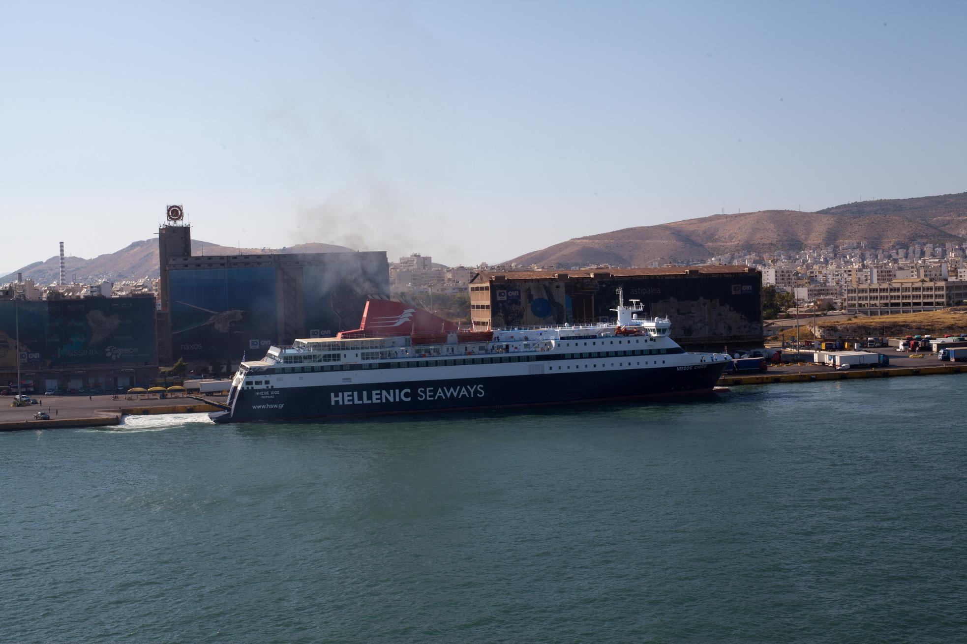 MS Nissos Chios IMO 9215555 Hellenic Seaways docking Piraeus Port of Athens Greece 02