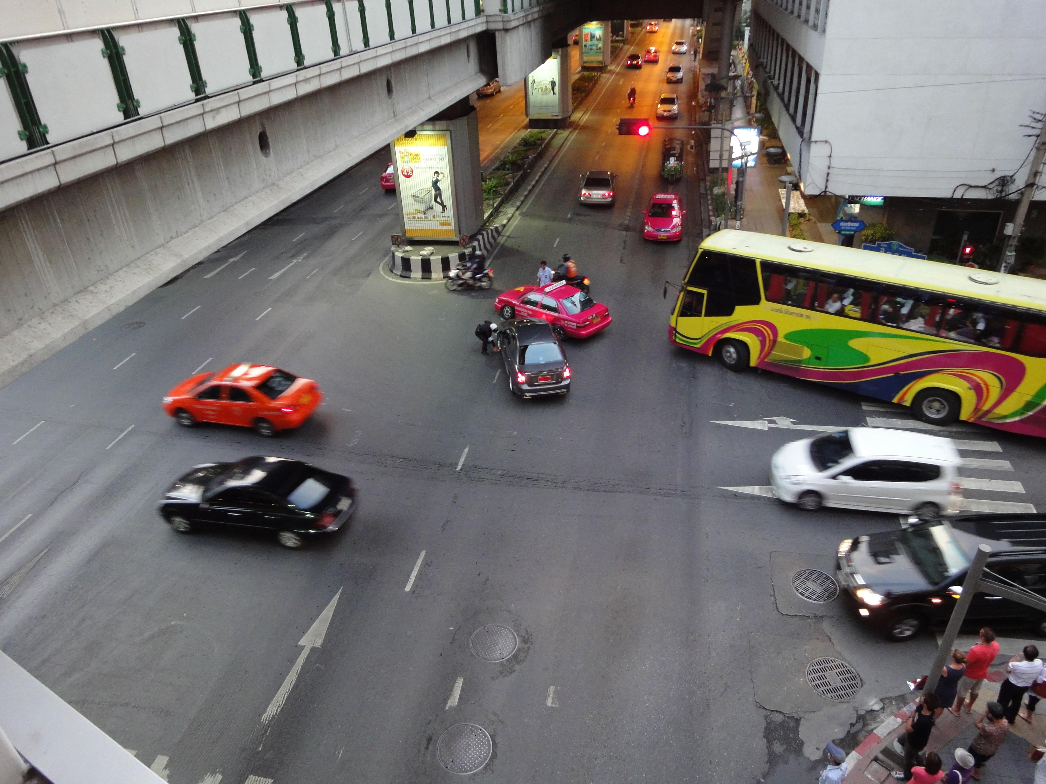 Ratchaprasong district area traffic accident Bangkok Thailand 2010 04