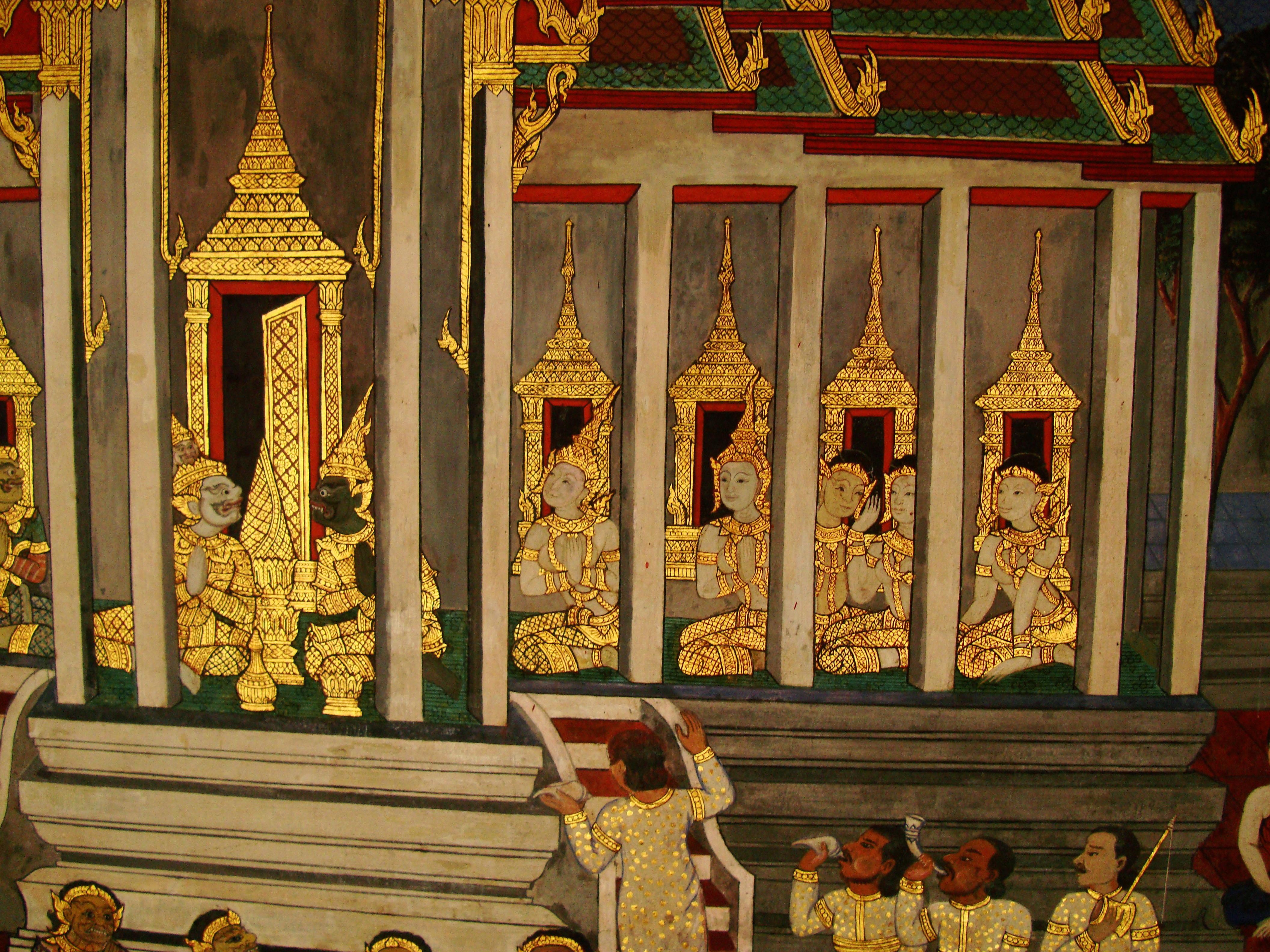 Grand Palace Gold leaf Buddhist artwork Bangkok Thailand 07