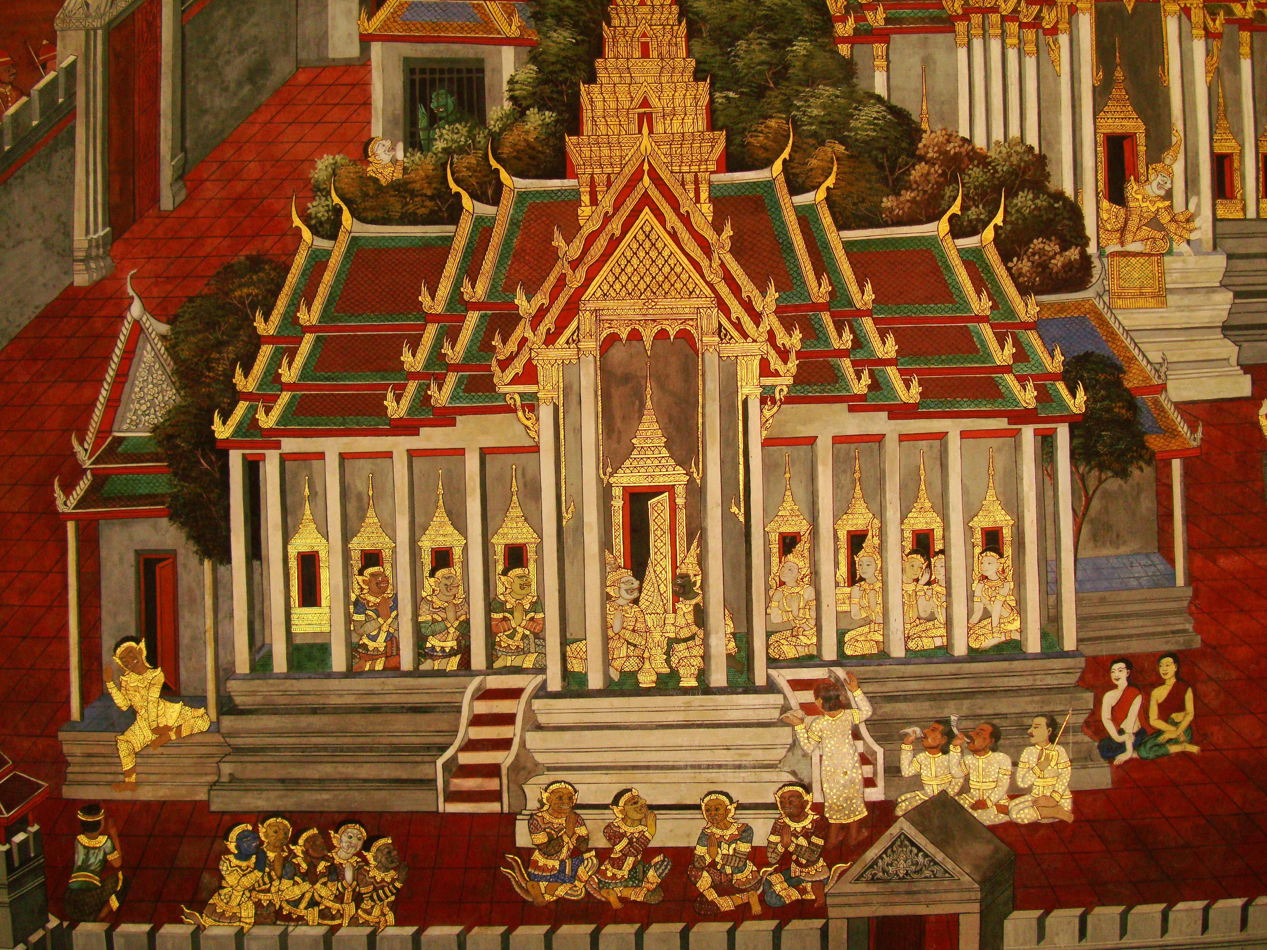 Grand Palace Gold leaf Buddhist artwork Bangkok Thailand 08