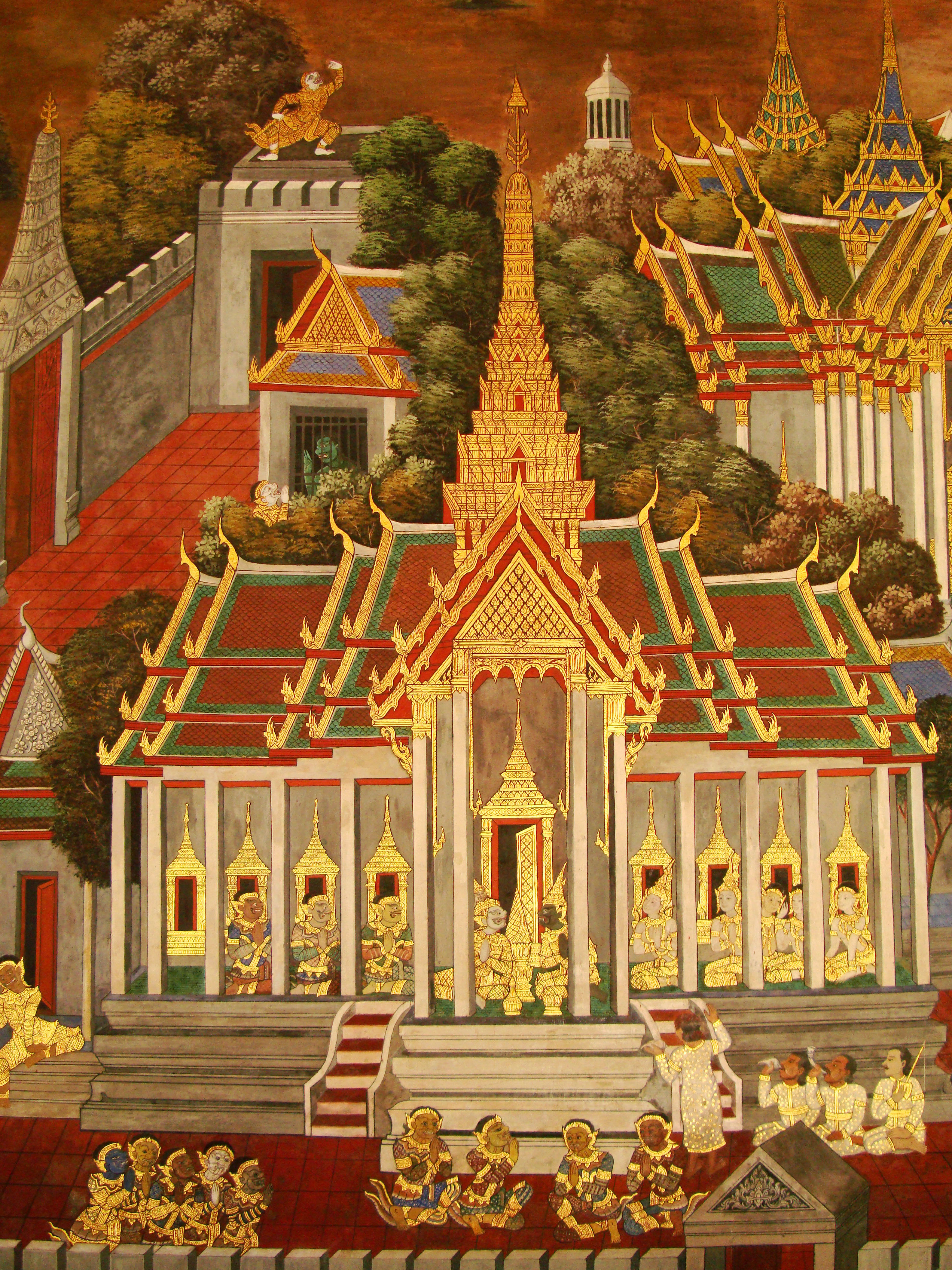 Grand Palace Gold leaf Buddhist artwork Bangkok Thailand 09