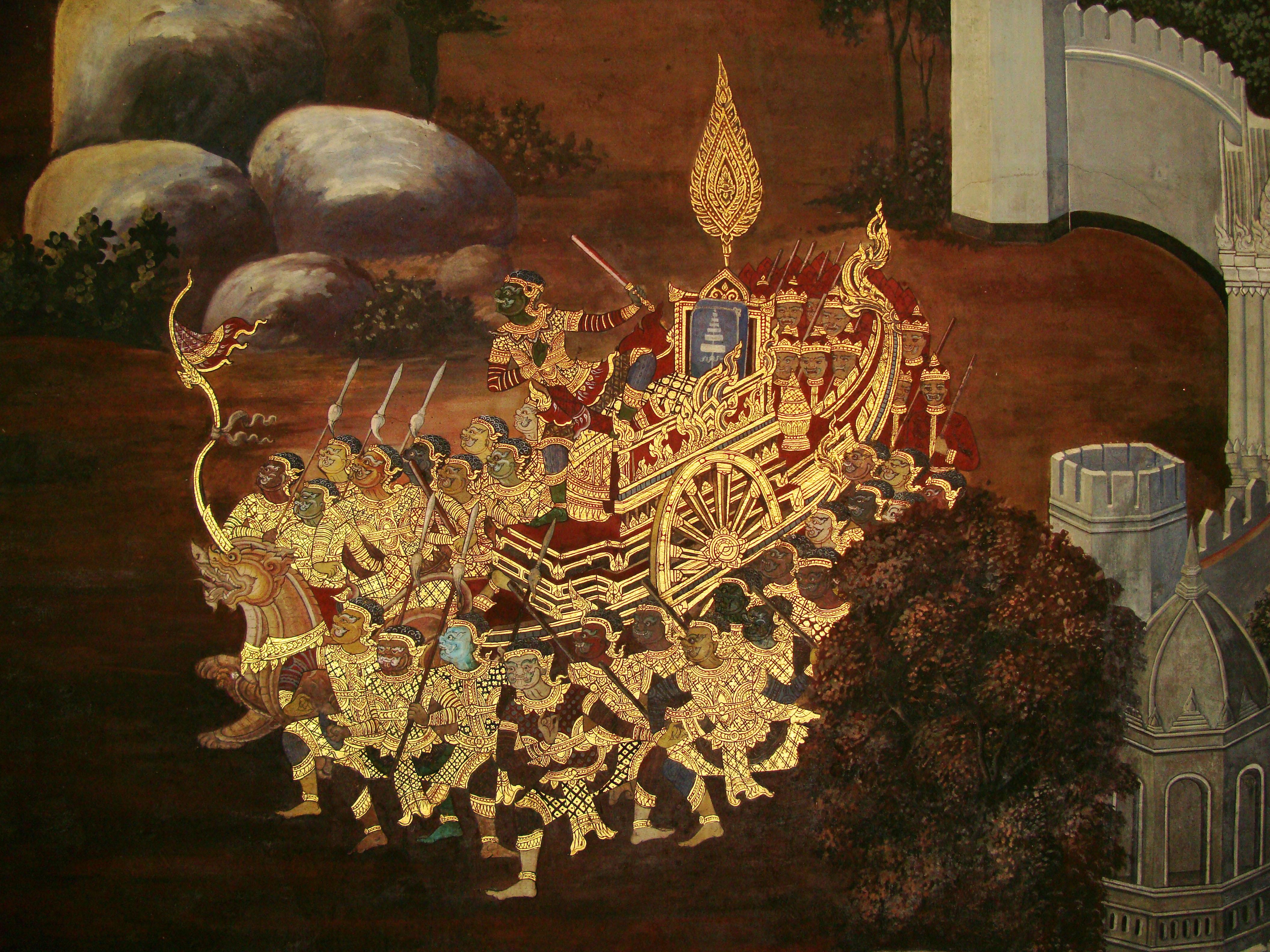 Grand Palace Gold leaf Buddhist artwork Bangkok Thailand 10