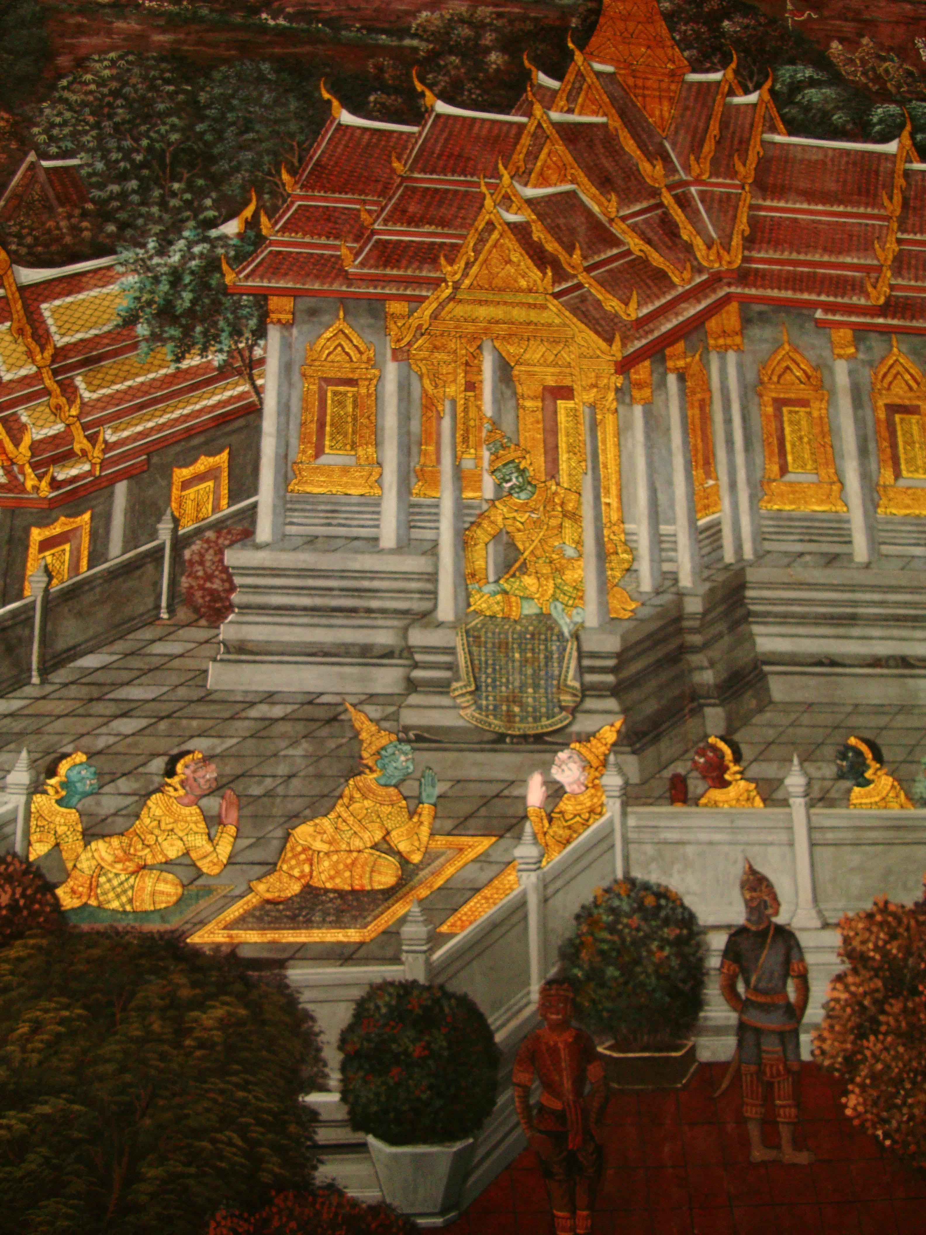 Grand Palace Gold leaf Buddhist artwork Bangkok Thailand 15
