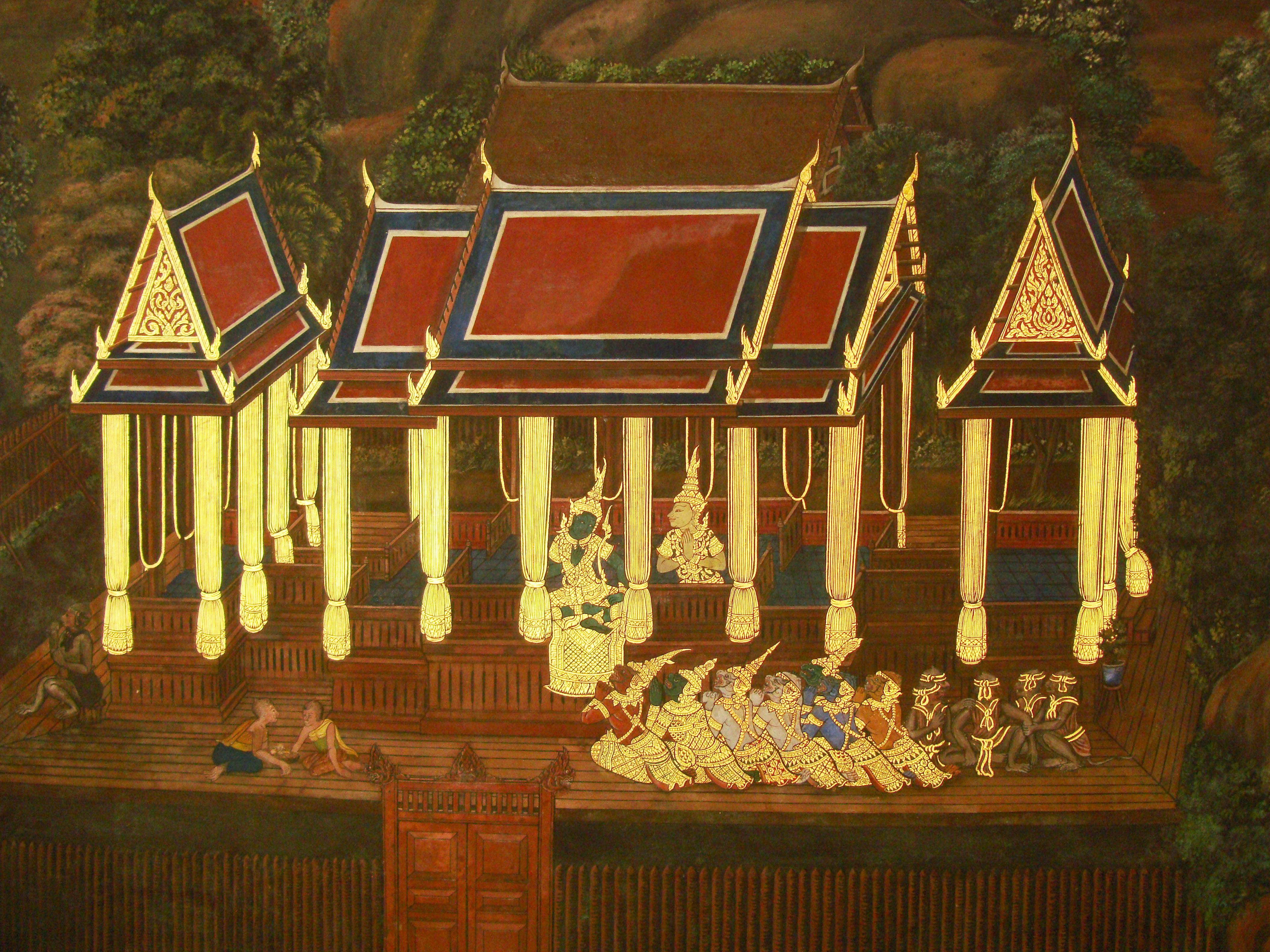 Grand Palace Gold leaf Buddhist artwork Bangkok Thailand 19