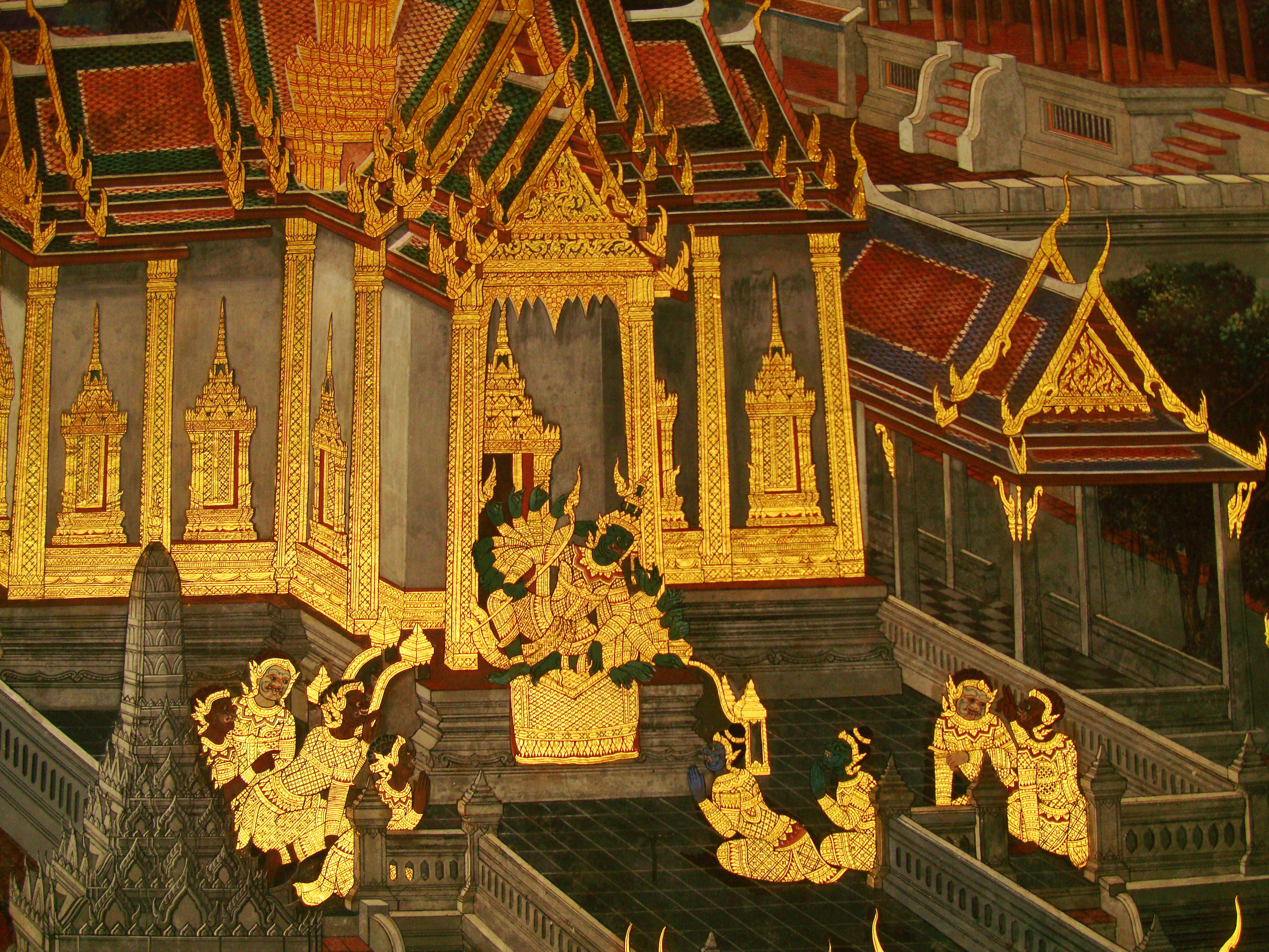 Grand Palace Gold leaf Buddhist artwork Bangkok Thailand 20