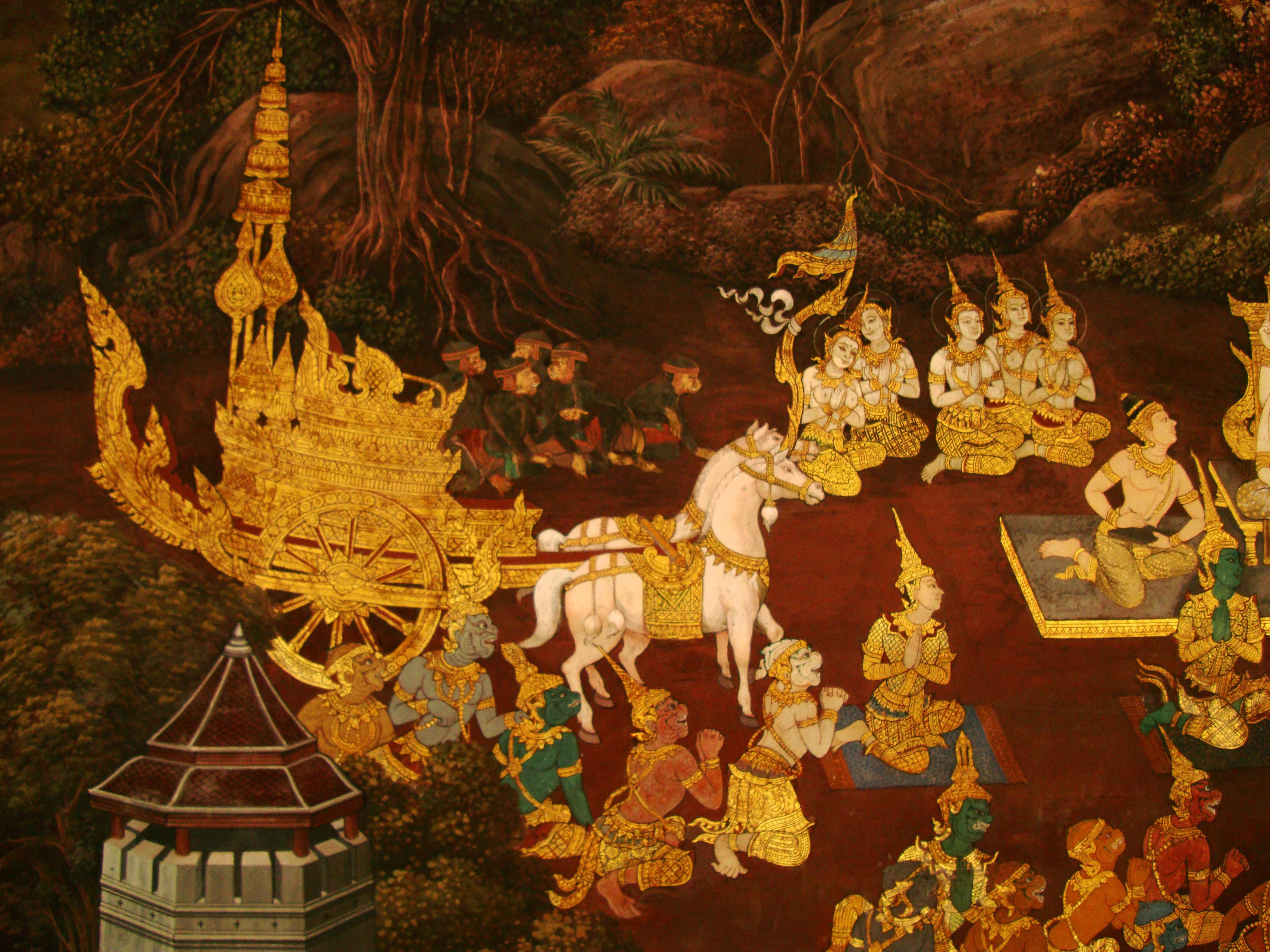 Grand Palace Gold leaf Buddhist artwork Bangkok Thailand 21