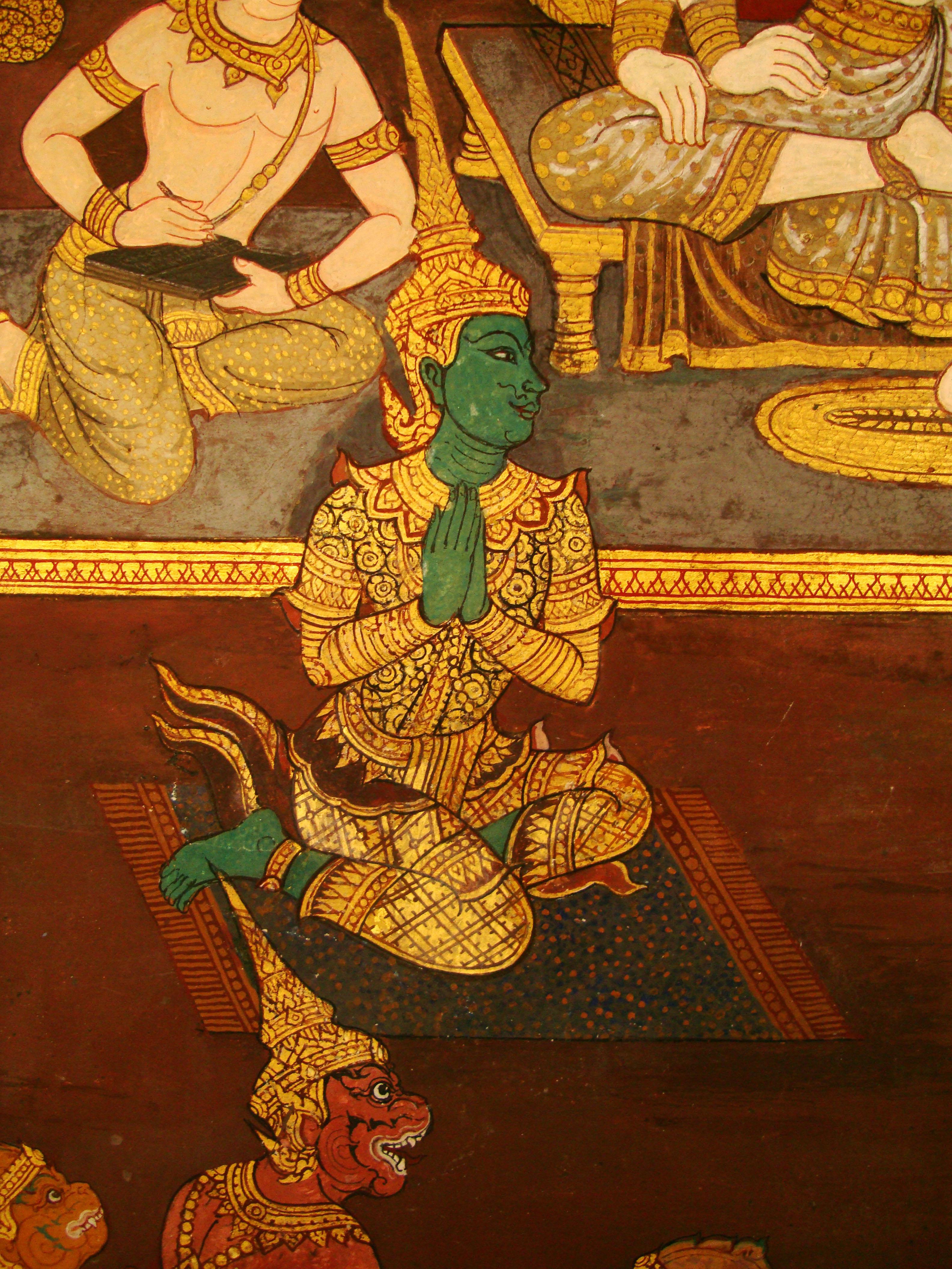 Grand Palace Gold leaf Buddhist artwork Bangkok Thailand 28