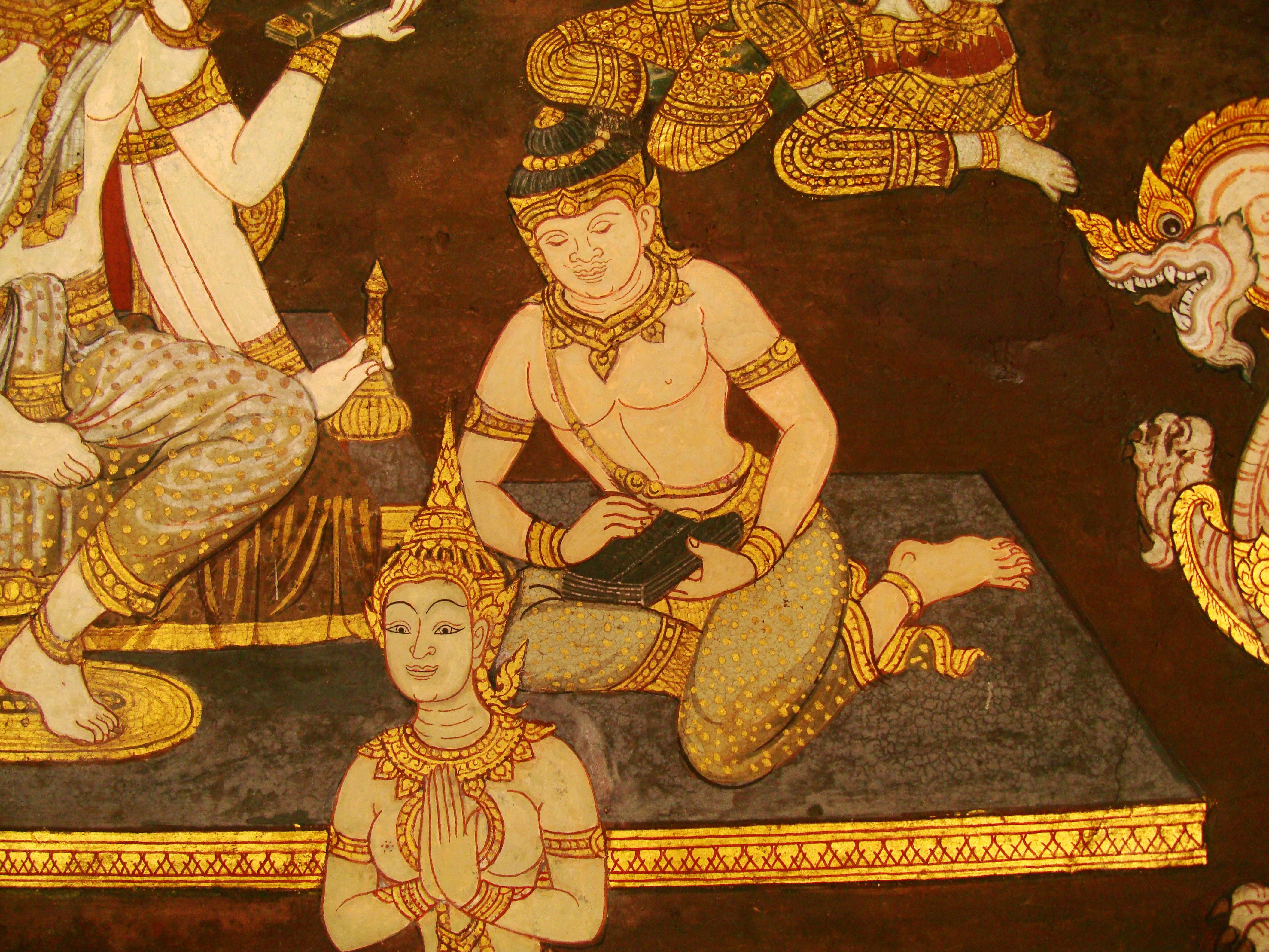 Grand Palace Gold leaf Buddhist artwork Bangkok Thailand 32