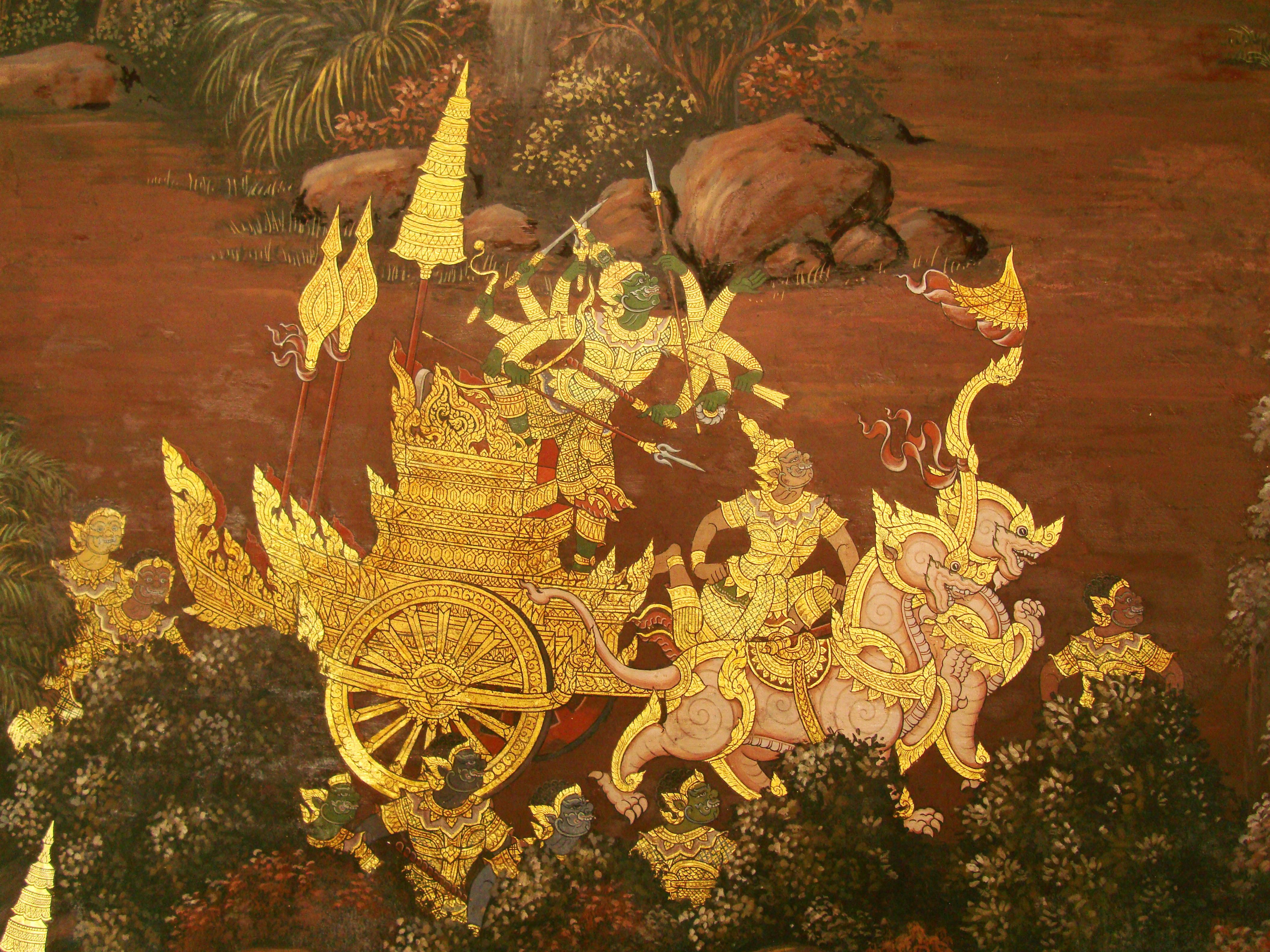 Grand Palace Gold leaf Buddhist artwork Bangkok Thailand 43