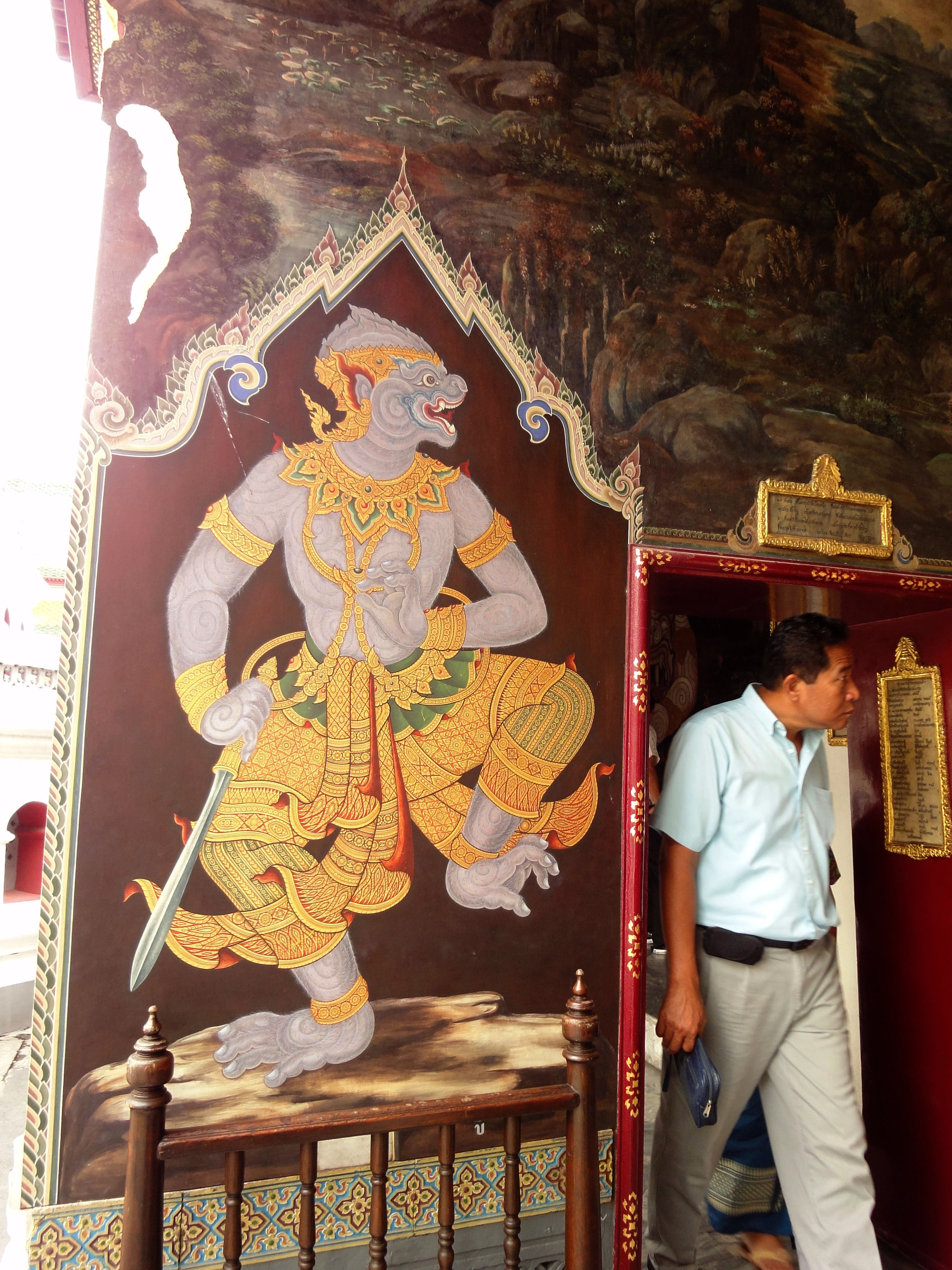 Grand Palace temple doors Gold leaf Buddhist paintings Bangkok Thailand 01