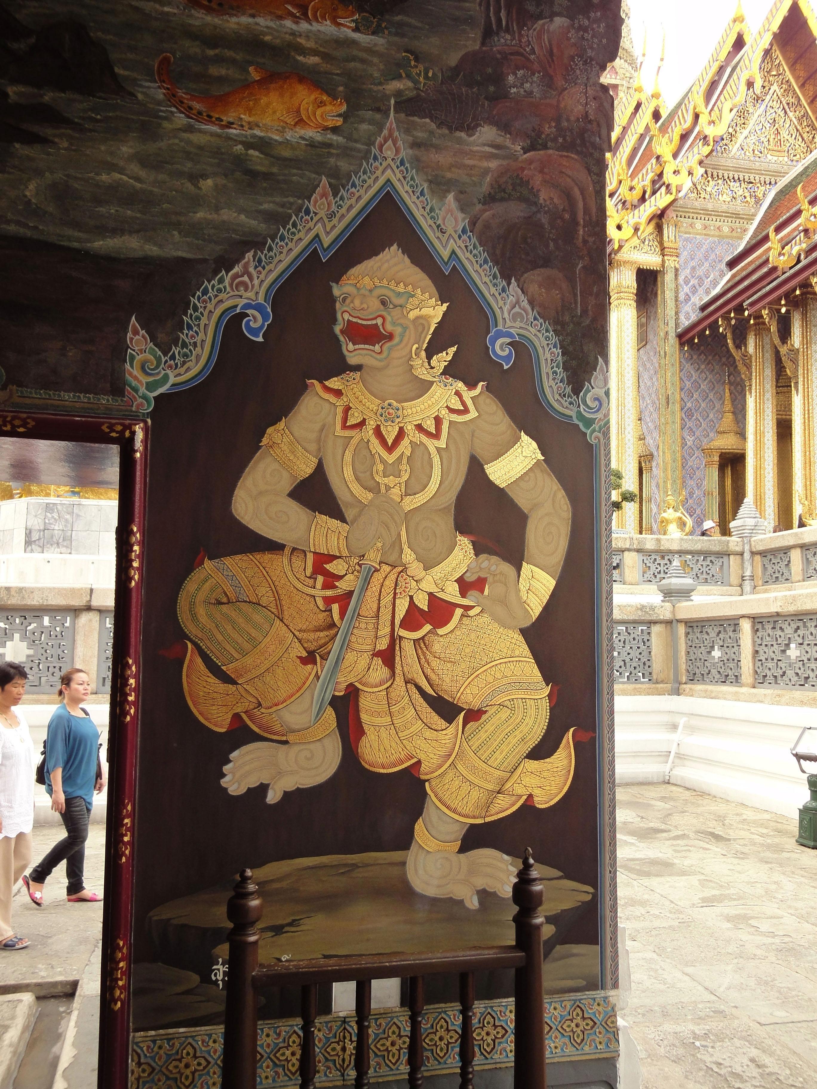 Grand Palace temple doors Gold leaf Buddhist paintings Bangkok Thailand 02