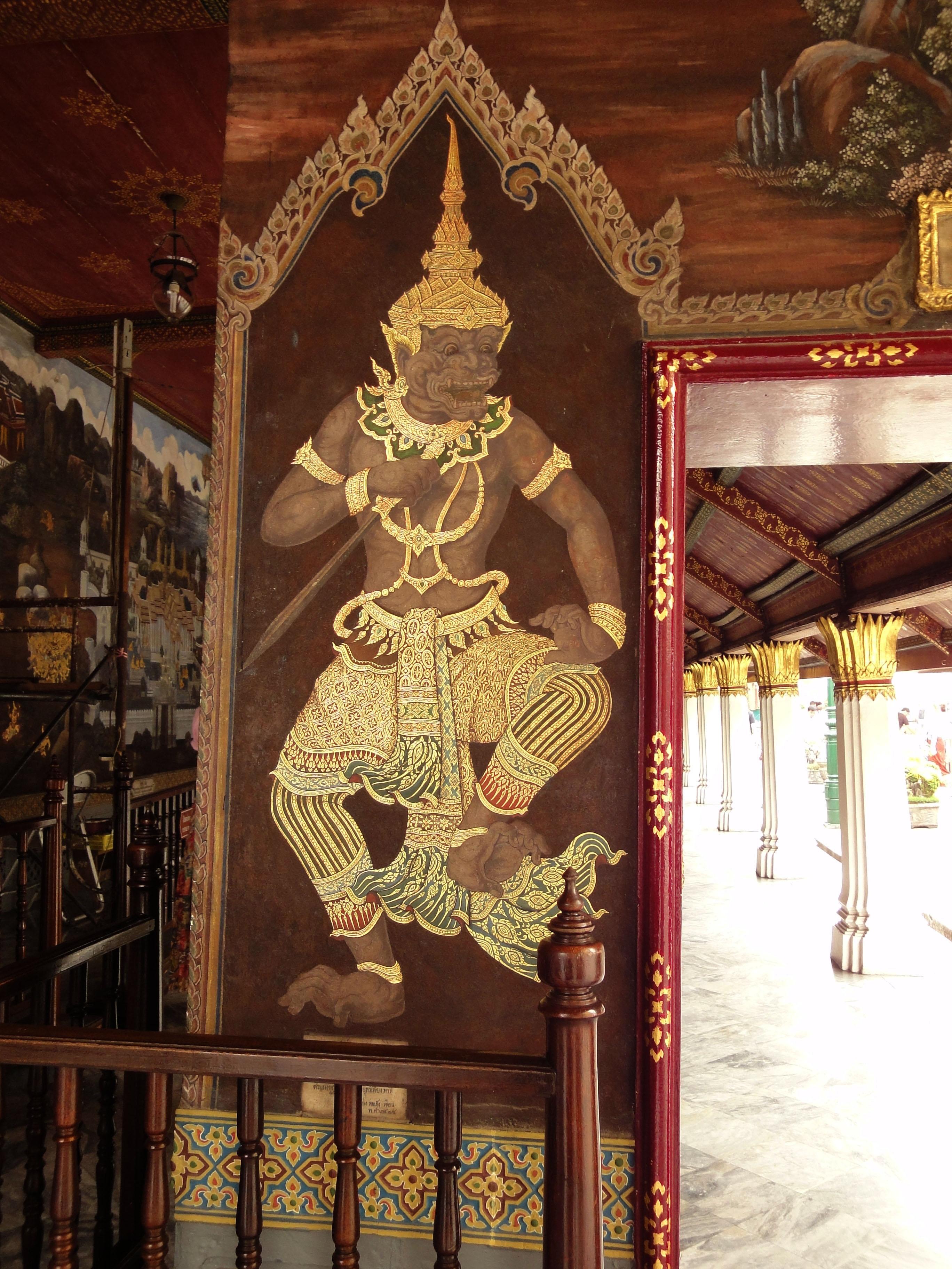Grand Palace temple doors Gold leaf Buddhist paintings Bangkok Thailand 03