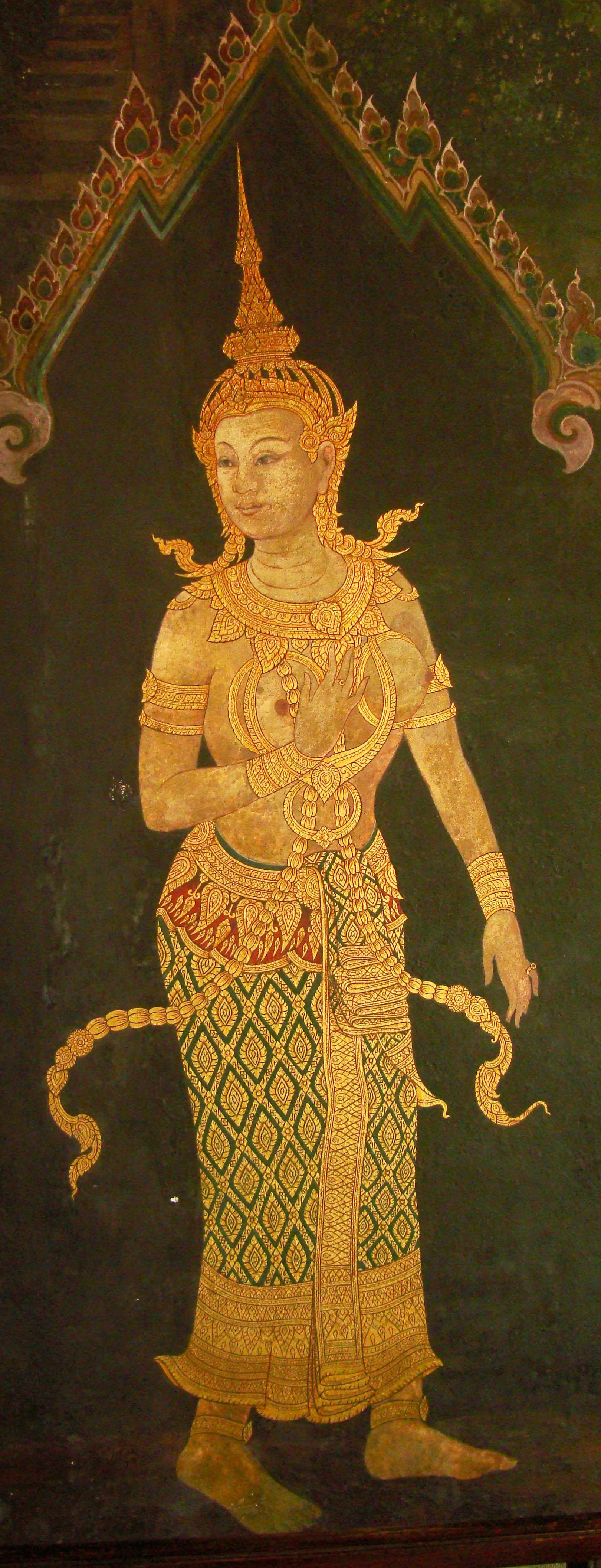 Grand Palace temple doors Gold leaf Buddhist paintings Bangkok Thailand 10