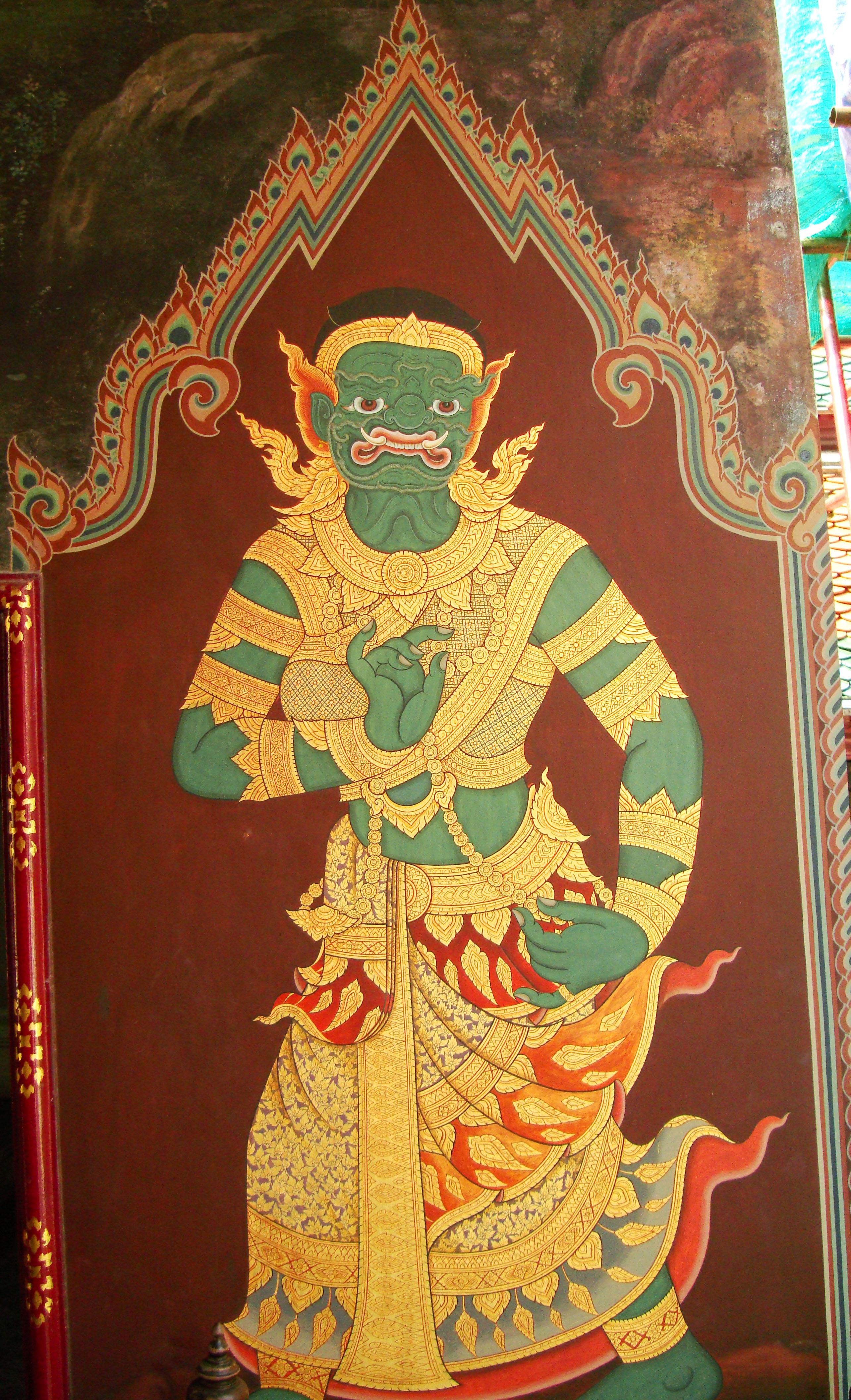 Grand Palace temple doors Gold leaf Buddhist paintings Bangkok Thailand 14