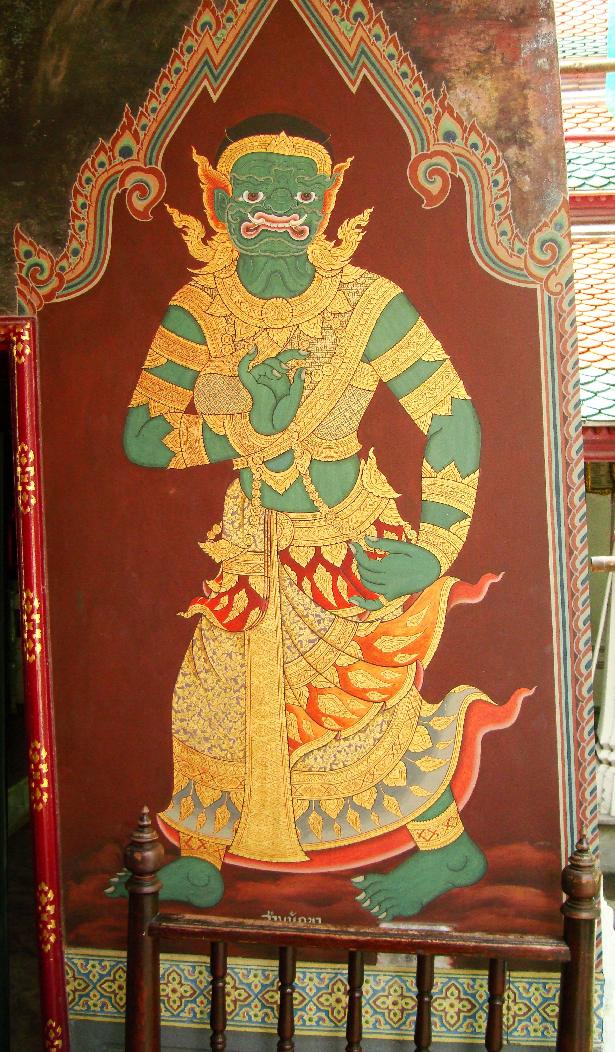 Grand Palace temple doors Gold leaf Buddhist paintings Bangkok Thailand 15