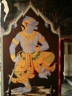 Asisbiz Grand Palace temple doors Gold leaf Buddhist paintings Bangkok Thailand 05