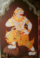 Asisbiz Grand Palace temple doors Gold leaf Buddhist paintings Bangkok Thailand 08
