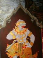 Asisbiz Grand Palace temple doors Gold leaf Buddhist paintings Bangkok Thailand 09