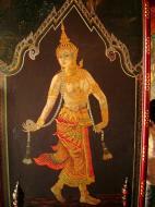 Asisbiz Grand Palace temple doors Gold leaf Buddhist paintings Bangkok Thailand 12