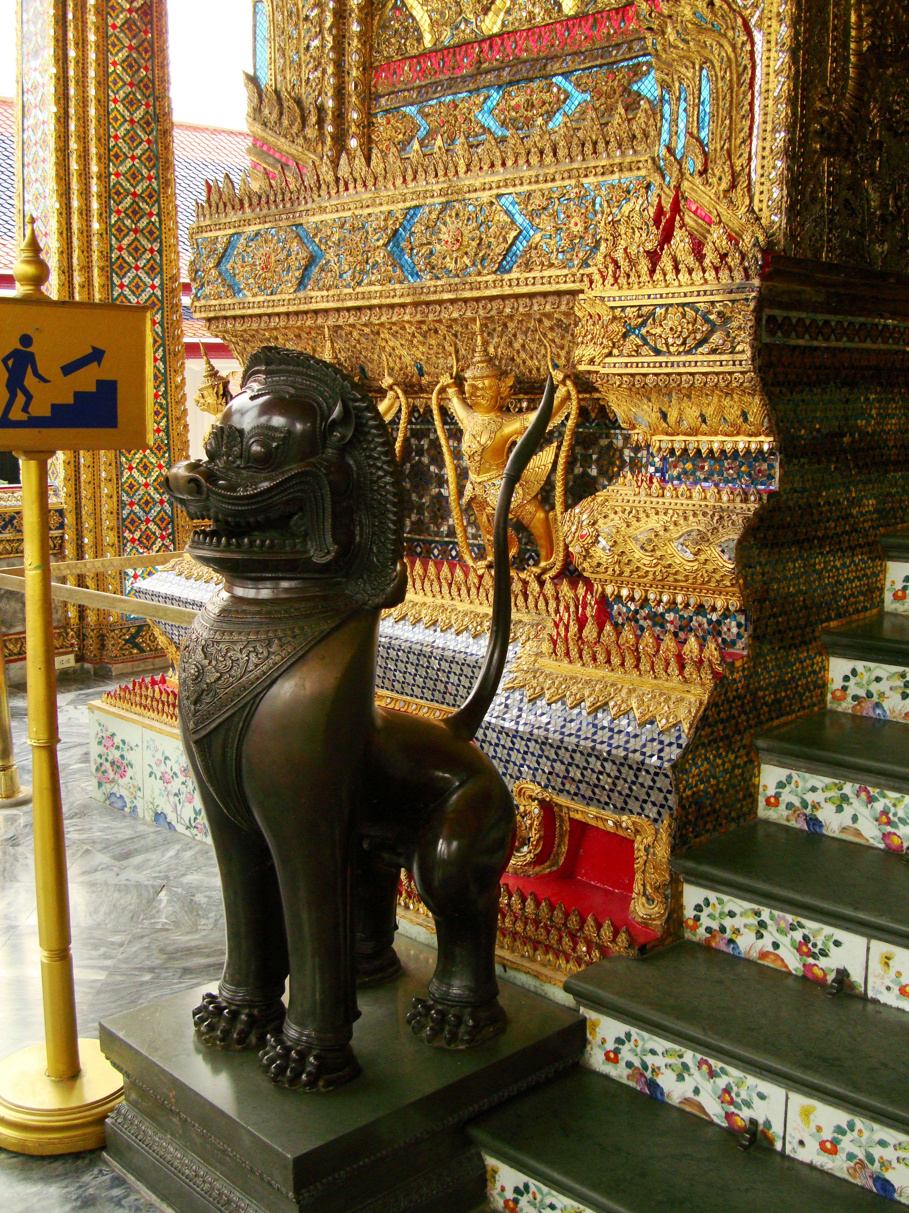 War bounty Cambodian Bronze Lion guardian statue Bangkok Thailand 02