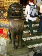 Asisbiz War bounty Cambodian Bronze Lion guardian statue Bangkok Thailand 01