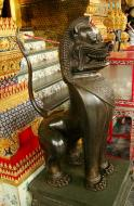 Asisbiz War bounty Cambodian Bronze Lion guardian statue Bangkok Thailand 04