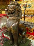 Asisbiz War bounty Cambodian Bronze Lion guardian statue Bangkok Thailand 08