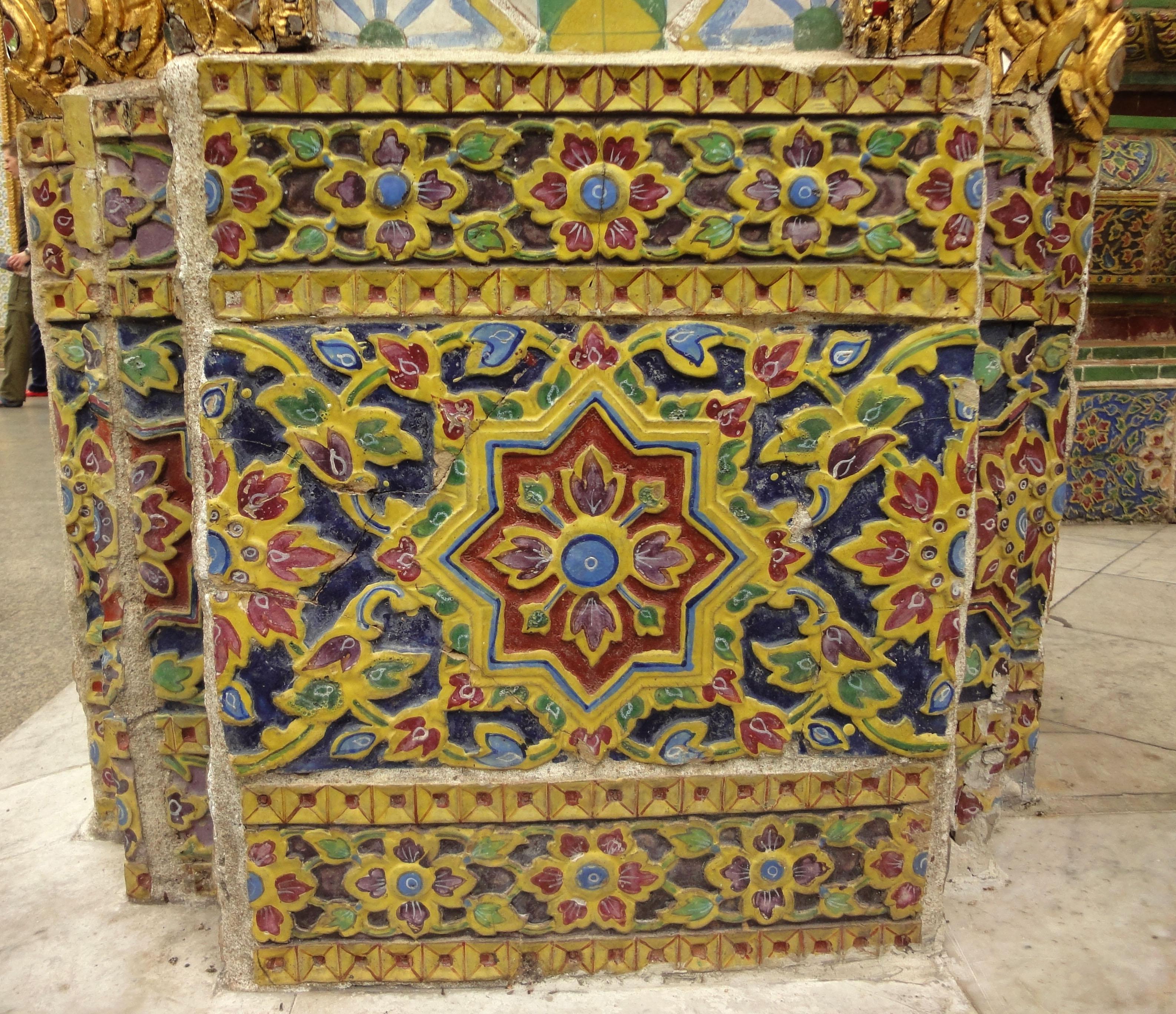 Grand Palace beautifully designed Chinese Mosaic tiles Bangkok Thailand 04
